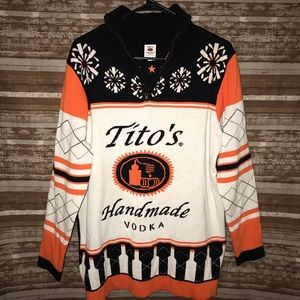 Tito's Vodka Ugly Christmas Sweater 1/4 Zip